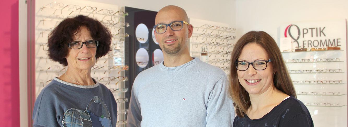 Die Temleader von Optik Fromme in Rastede: Evelyne Fromme, Jan Ehlers und Melanie Ehlers-Fromme